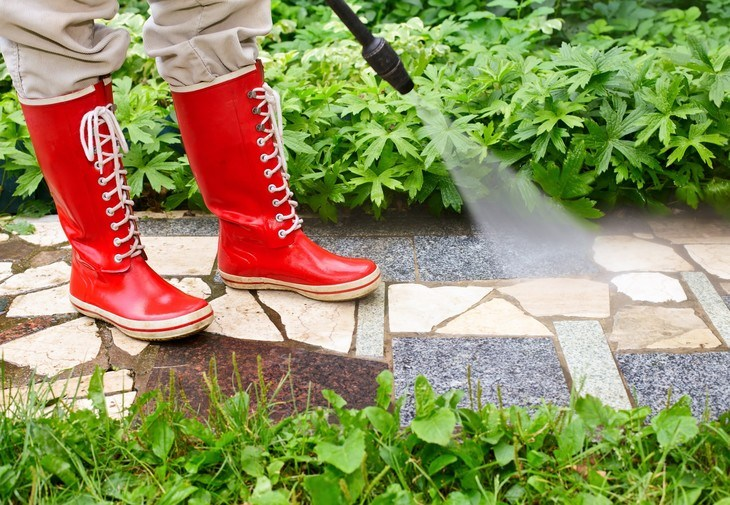 On such a rough surface, to save time and energy, use the pressure washer surface cleane