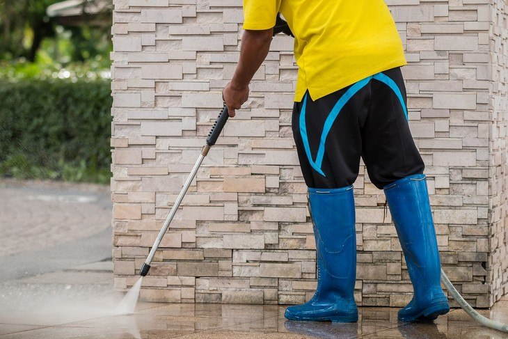 You can use a pressure cleaner to clean your sidewalk